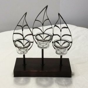 3 Leaf Votive Candle Holder Tea Lite Metal Stand